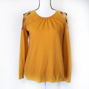 Loft long sleeve cold shoulder embroidered Small